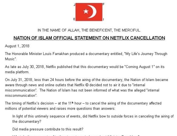 Nation Of Islam Official Statement On Netflix Cancellation